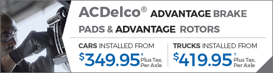 ACDelco® ADVANTAGE BRAKE PADS & ADVANTAGE COATED ROTORS